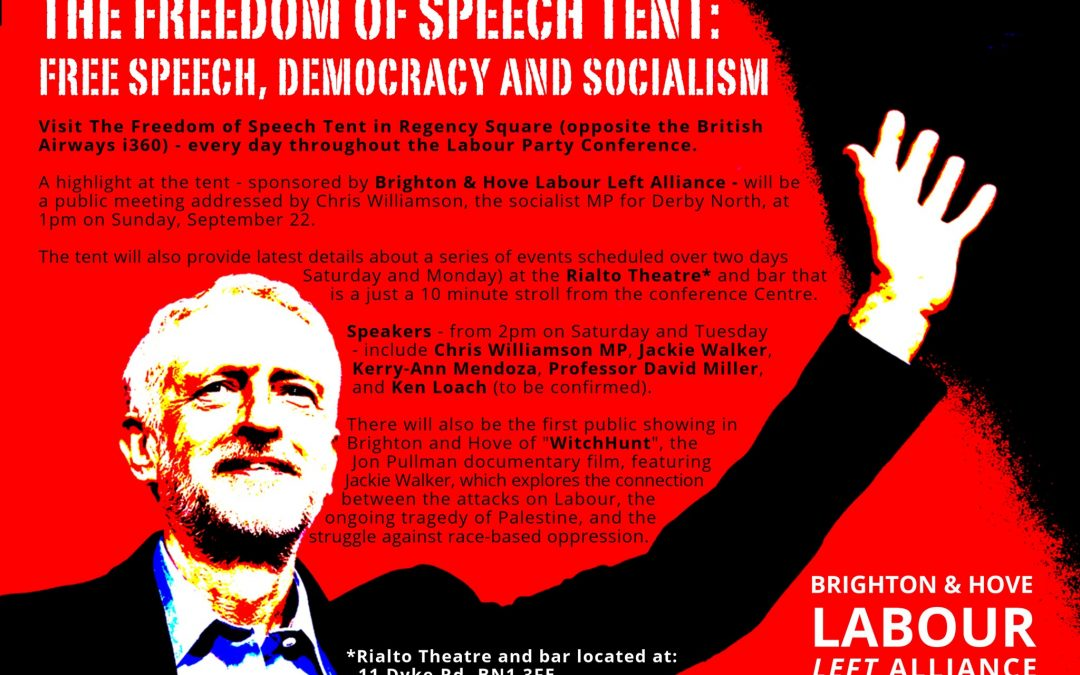 Supporting Free Speech at the Labour Party Conference – Defying the Zionists and Kyle
